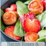 If you're looking to make the perfect Valentine's Day salad, I'll show you how to make bacon roses and strawberry hearts,perfect for dressing up your salads or garnishing your holiday plates year round! #thethingswellmake #miy #valentinesday #valentinesdayfood #saladrecipes #valentinesdayideas #romanticdinners #partyfood #holidayfood #romanticfood #romanticrecipes #foodroses #baconrecipes #strawberries #heartshaped #strawberryhearts