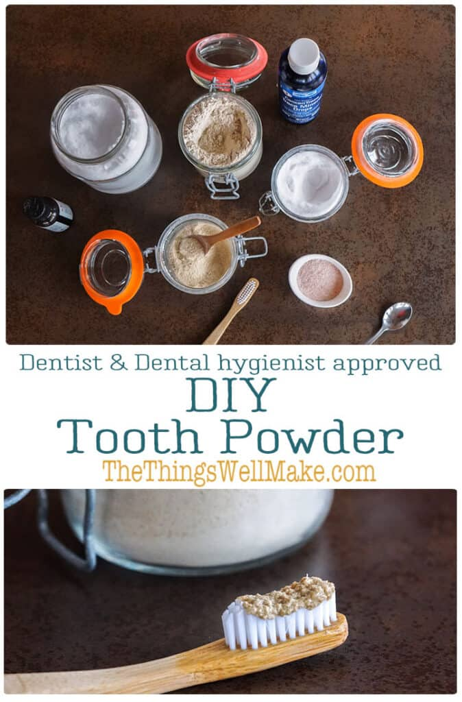 More sustainable than commercial toothpaste, tooth powders effectively clean your teeth. They're simple to make, help save you money, and by making your own, you control the ingredients. #toothpaste #toothpowder #naturalhealth #thethingswellmake #miy #oralcare #oralhealth