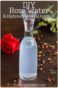 With a pleasant scent and anti-inflammatory properties, rose water and rose hydrosol are the perfect addition to homemade cosmetics. Learn several ways to make your own rose water or hydrosol and the difference between them. #rosewater #hydrosols #roses #floralwaters #naturalskincare #thethingswellmake #miy