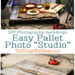 Upcycle a pallet into a versatile DIY photography backdrop! Learn how to make and use it for food and still-life photography, getting the perfect shot even when it's dark outside. #photography #photographybackdrops #upcycle #pallets #thethingswellmake #miy #foodphotography