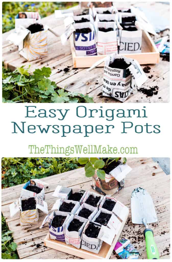pin origami flower pots