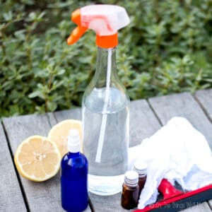 Two spray bottles and two essential oil bottles, with a lemon cut in half, a squeegee, and a cleaning rag.