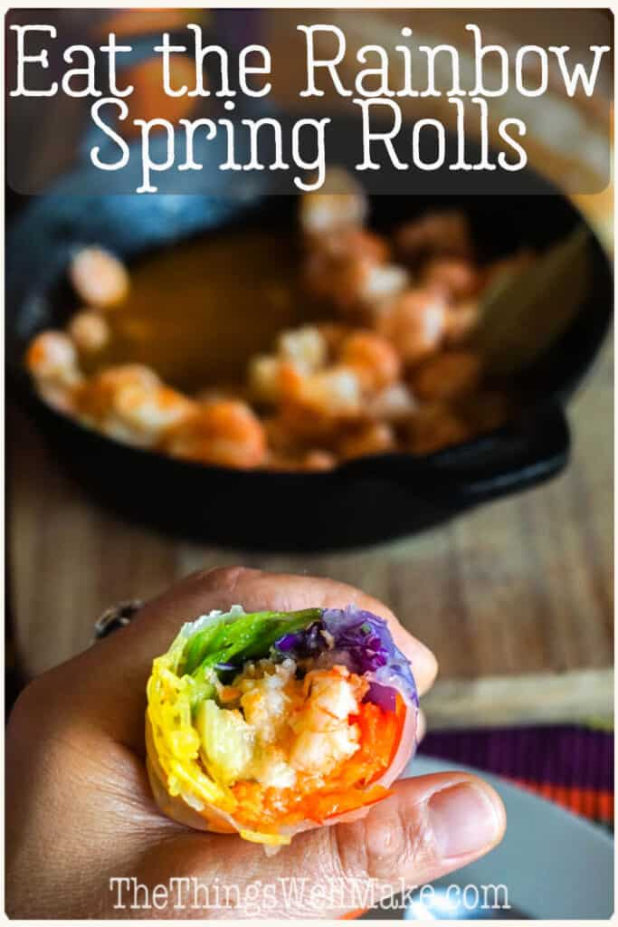 Eat the rainbow! By eating vegetables with a wide variety of colors helps ensure you're eating healthy doses of a variety of vitamins and antioxidants. These rainbow spring rolls help incorporate a healthy dose of colorful vegetables in fun and easy way! #eatherainbow #rainbow #appetizers #healthysnacks #asiancuisine #healthyrecipes #thethingswellmake #miy
