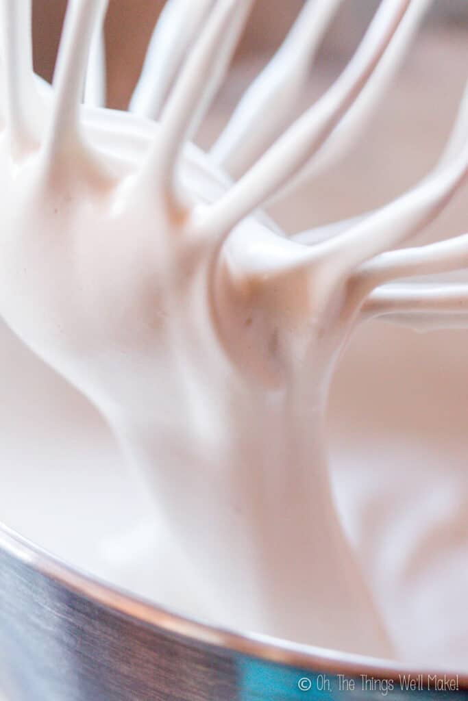Closeup of fluffy marshmallow mixture on a beater