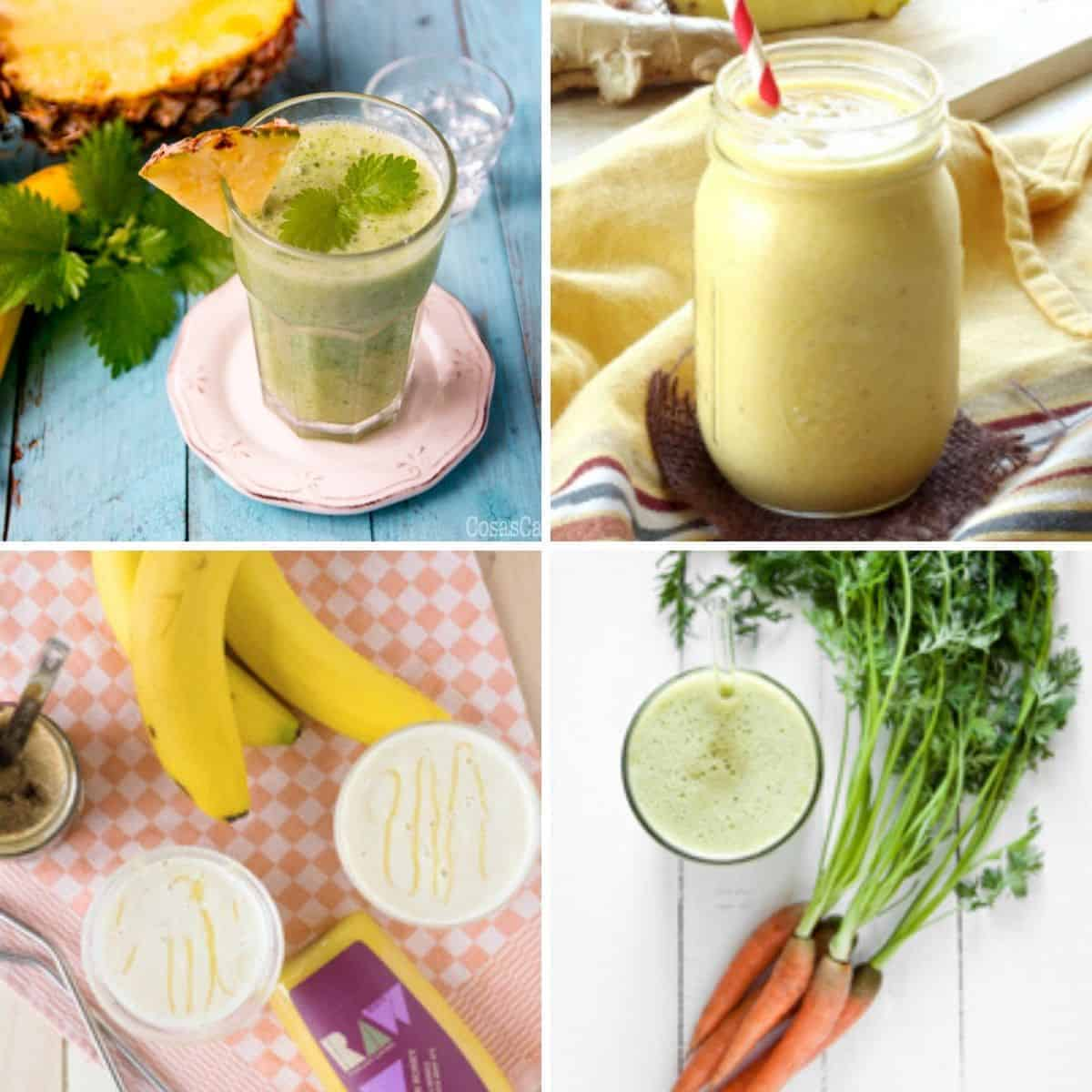 Collage of 4 different smoothies with unusual, unexpected ingredients.