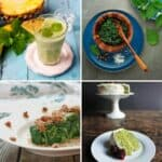a collage of 4 photos of different recipes using stinging nettles.