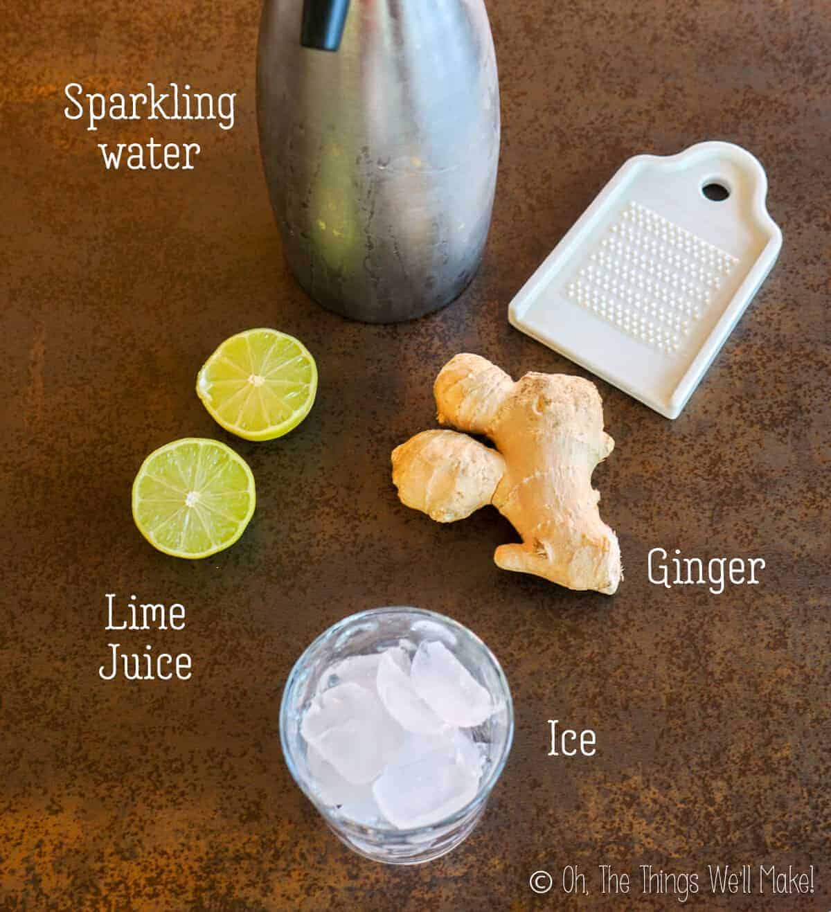 overhead view of ingredients for homemade ginger ale
