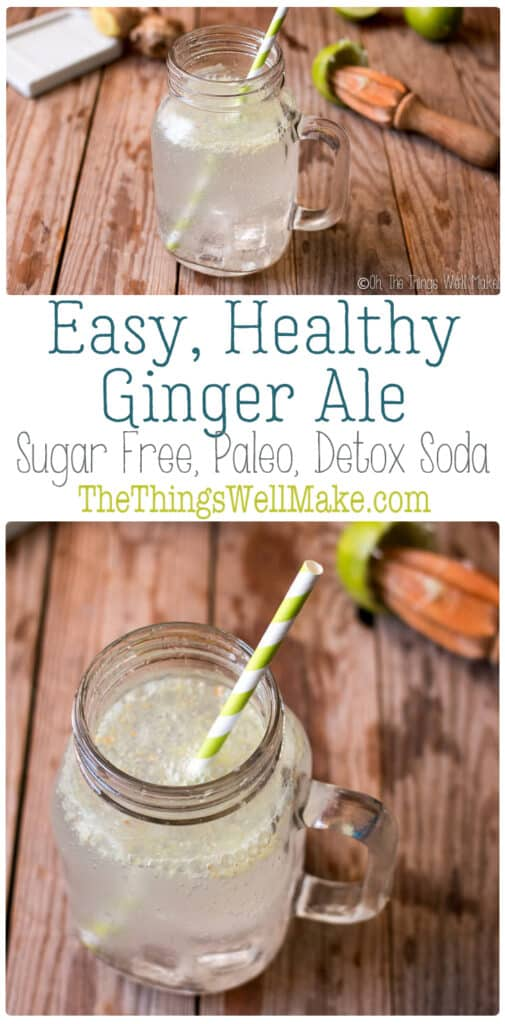 Surprise your senses with this healthy, sugar-free, homemade ginger ale. It's a fun, refreshing, carbonated detox water that will curb your cravings for not so healthy drinks. #gingerale #gingerrecipes #thethingswellmake #miy #mocktails #flavoredwater