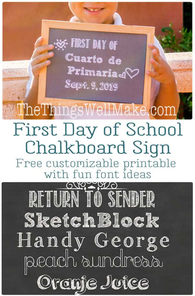 Take fun first day of school photos to help track the growth of your kids from year to year. Download this free chalkboard background printable, and learn which fonts can make your sign look great effortlessly! #backtoschool #firstdayofschool #printable #freeprintable