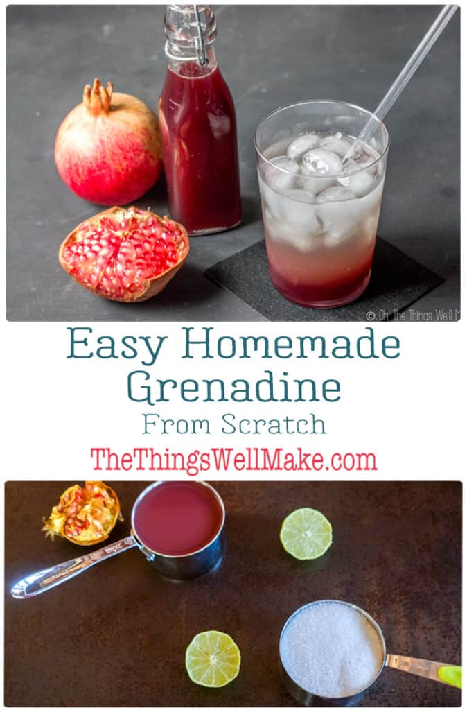 It is easy to make grenadine syrup from scratch using fresh pomegranates or pomegranate juice. Impress your friends with a more grown-up cocktail using homemade grenadine, free from the artificial colors and flavors of the store-bought varieties. #grenadine #shirleytemple #realfood #mocktails #pomegranates