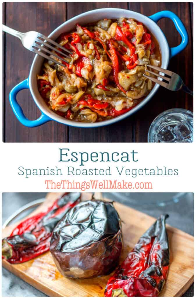 Healthy and delicious, espencat is a roasted vegetable dish that works well as an appetizer, side dish, or even a salad of sorts. This Spanish dish uses roasted red peppers and eggplants, garlic and olive oil, and can be served warm or cold. #roastedvegetables #spanishcuisine #mediterraneancooking