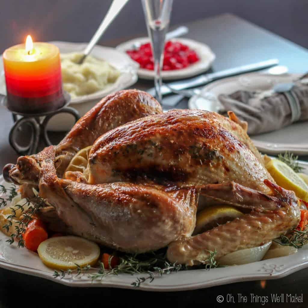 Roasted whole turkey on a platter