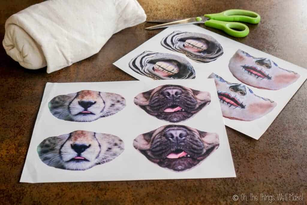 Sheets of transfer paper with animal faces printed