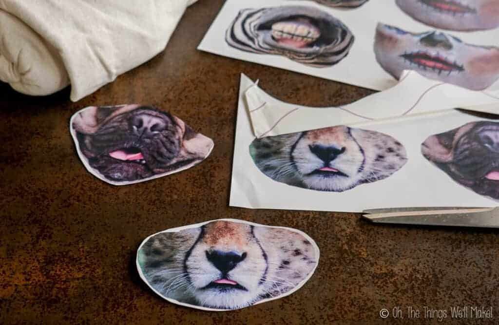cut out animal faces on transfer paper