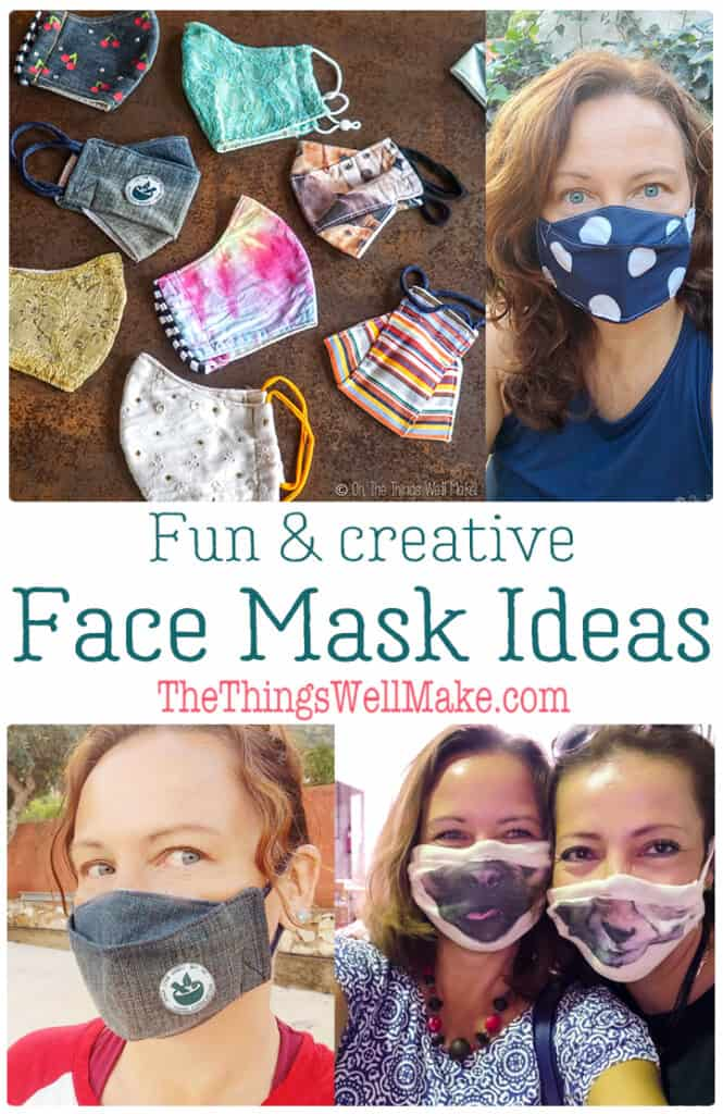 Lighten up the burden of having to wear a face mask with these fun and creative face masks that you can make or decorate yourself at home. From using fun fabrics, to embellishing already-made face masks, I have fun options for you! #facemasks #masks #sewing #thethingswellmake