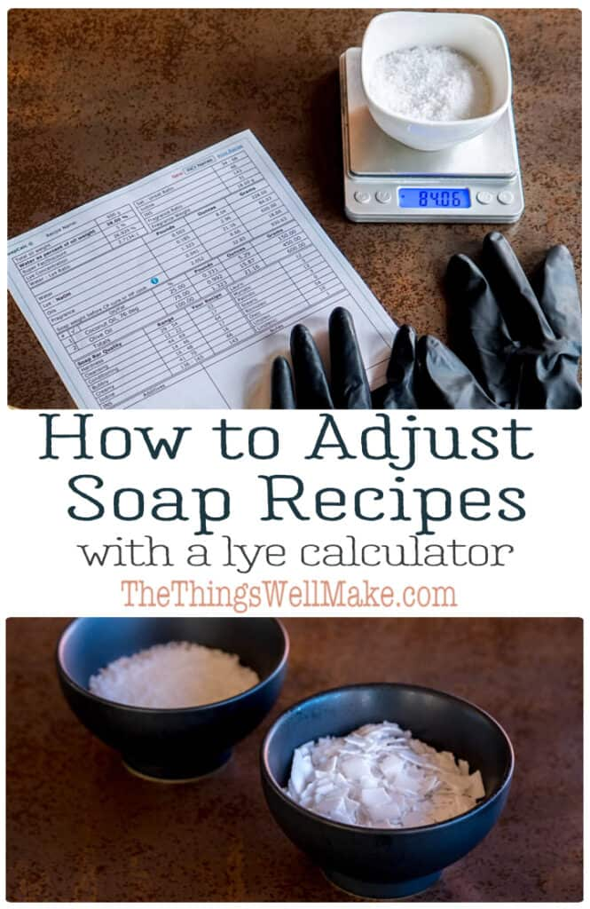 Altering a soap recipe is nothing like altering a food recipe. Learn how to make adjustments to a soap recipe without ruining it with the help of a lye calculator. This will also help you learn how to formulate your own soaps for different purposes. #soapmaking #lyecalculator #thethingswellmake #miy #lye #soap