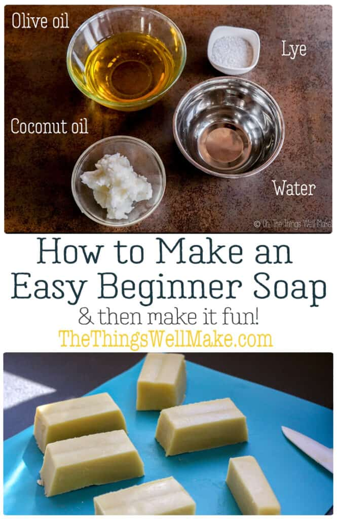 Making soap isn't difficult. This quick and easy, basic beginner soap recipe has a long working time, perfect for beginners. It also comes with fun ideas for personalizing it by adding exfoliants, essential oils, etc. #thethingswellmake #soap #soapmaking