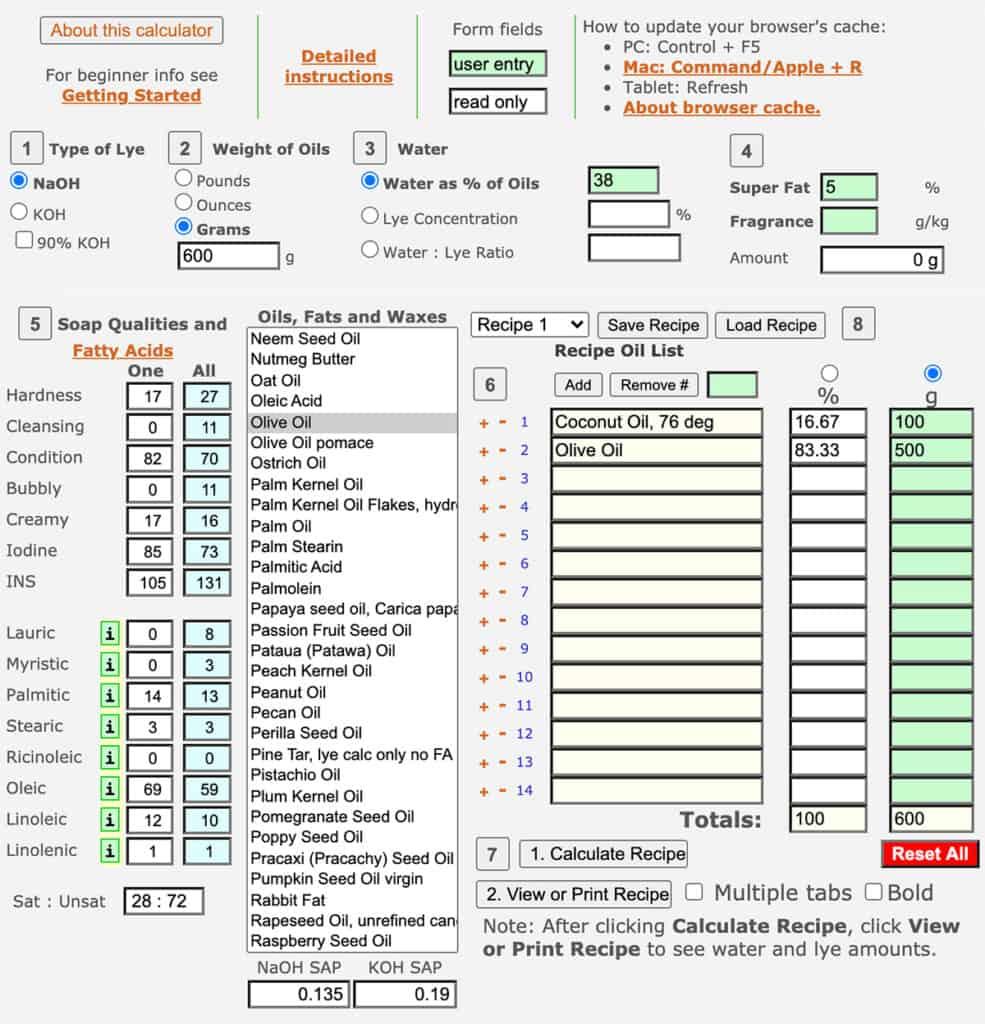 Screenshot of Soapcalc lye calculator with Beginner Soap Recipe inputted