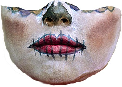 Bottom half of a woman's face with makeup face