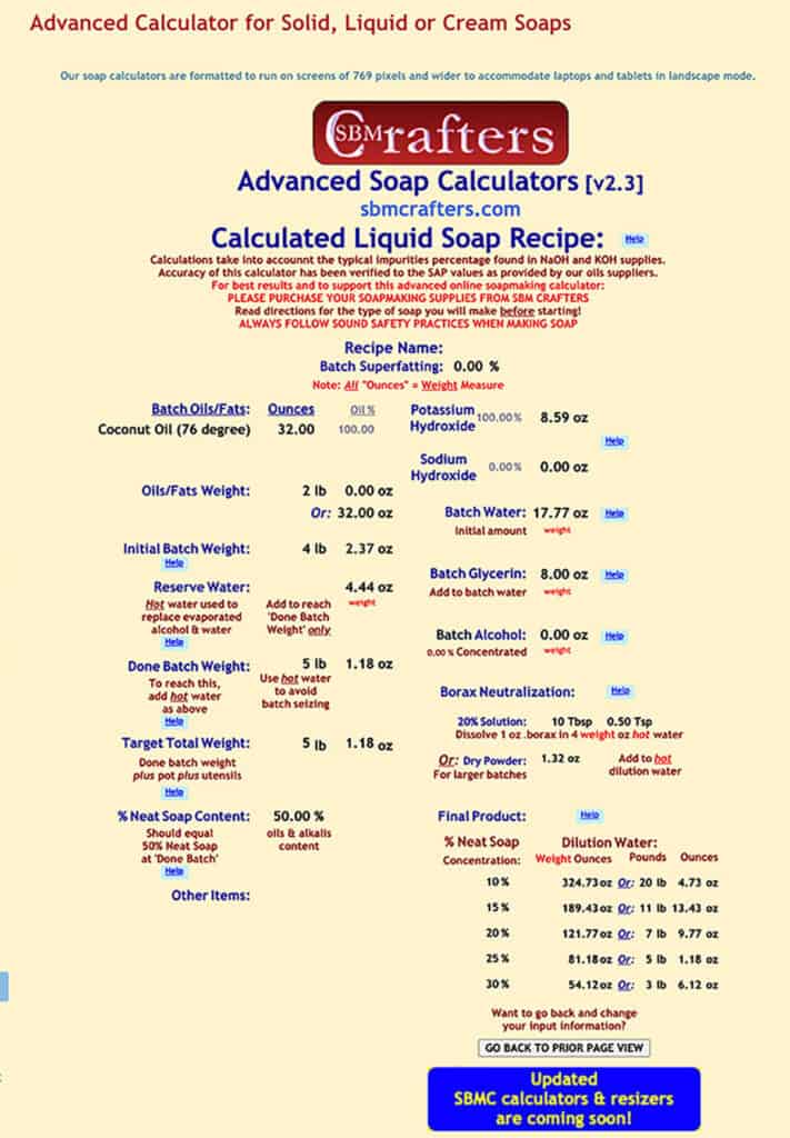 screenshot of a calculated liquid coconut oil soap on the sbm Crafters lye calculator