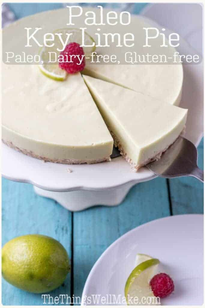 Creamy yet refreshing, this tangy paleo key lime pie without condensed milk, combines healthy foods like avocados, coconut milk, and gelatin to create a subtly sweet indulgent treat. #keylimepie #paleodesserts #paleopies #limerecipes #thethingswellmake #miy #paleorecipes #dairyfreedesserts