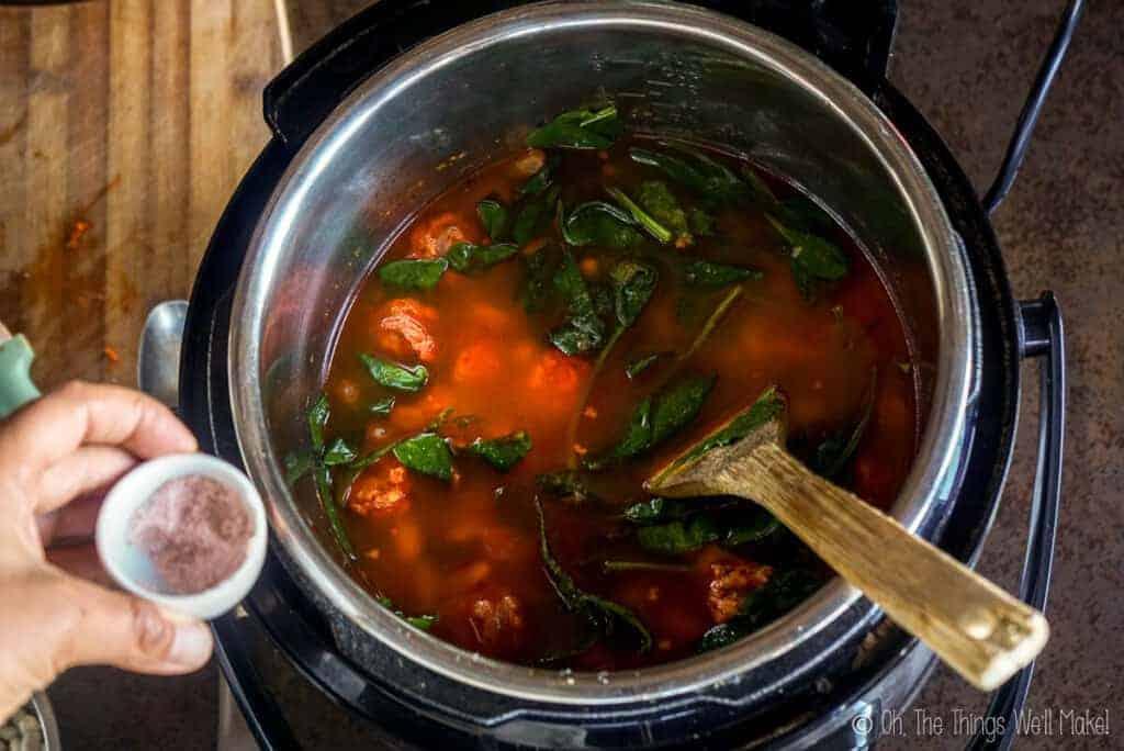 Adding salt to the soup