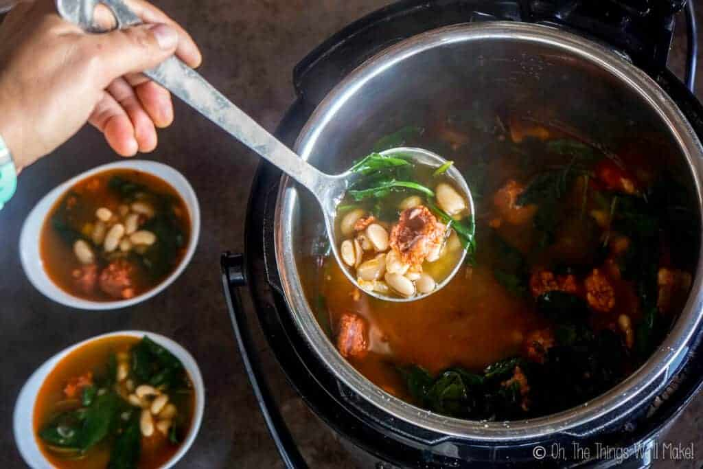 Serving the soup with a ladle