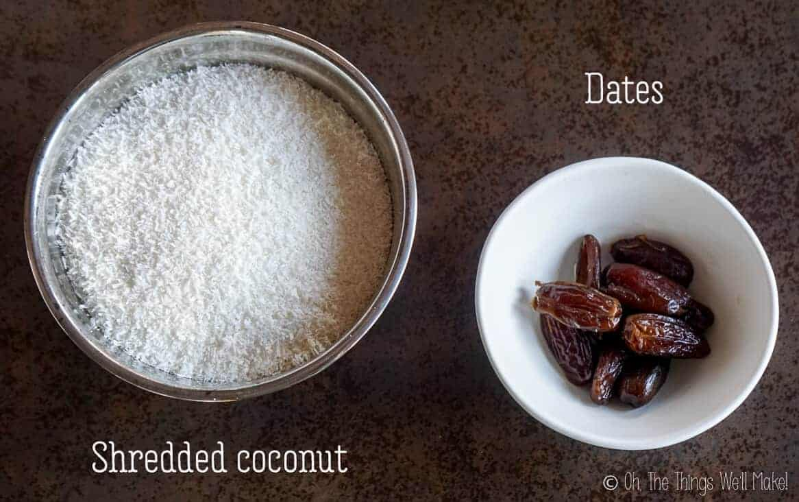 Overhead view of shredded coconut and dates.