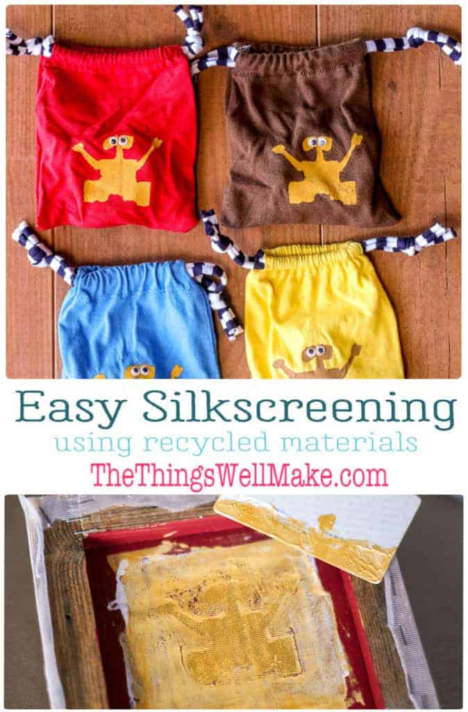 You don't need to buy expensive equipment to do your own silk screening. Learn how to silkscreen with common materials that you may already have at home! #thethingswellmake #silkscreen #diy #crafty #printmaking