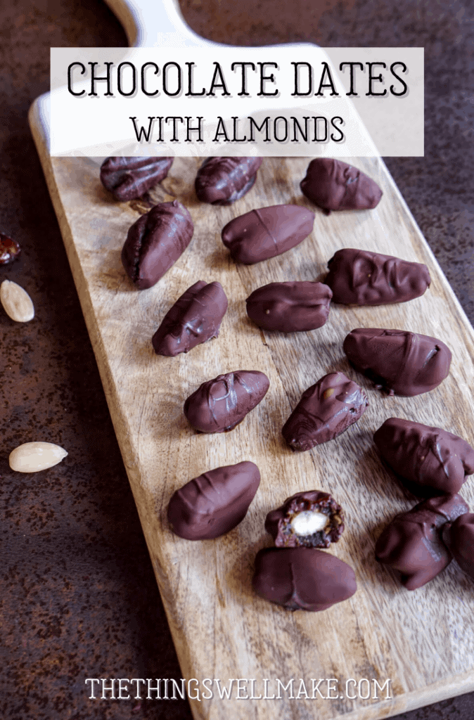 Sweet and chewy with a bit of crunch, these easy-to-make chocolate dates with almonds resemble bite-sized candy bars sans the refined sugars and artificial ingredients. #chocolaterecipes #dates #chocolatedates #thethingswellmake #miy