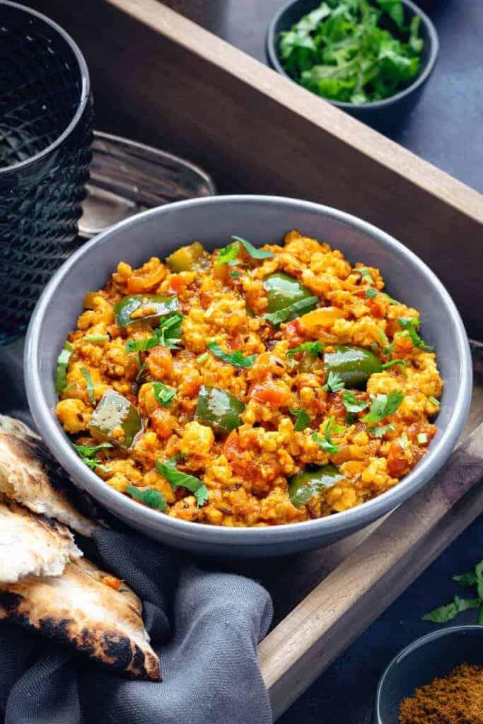 A bowl of paneer bhurji