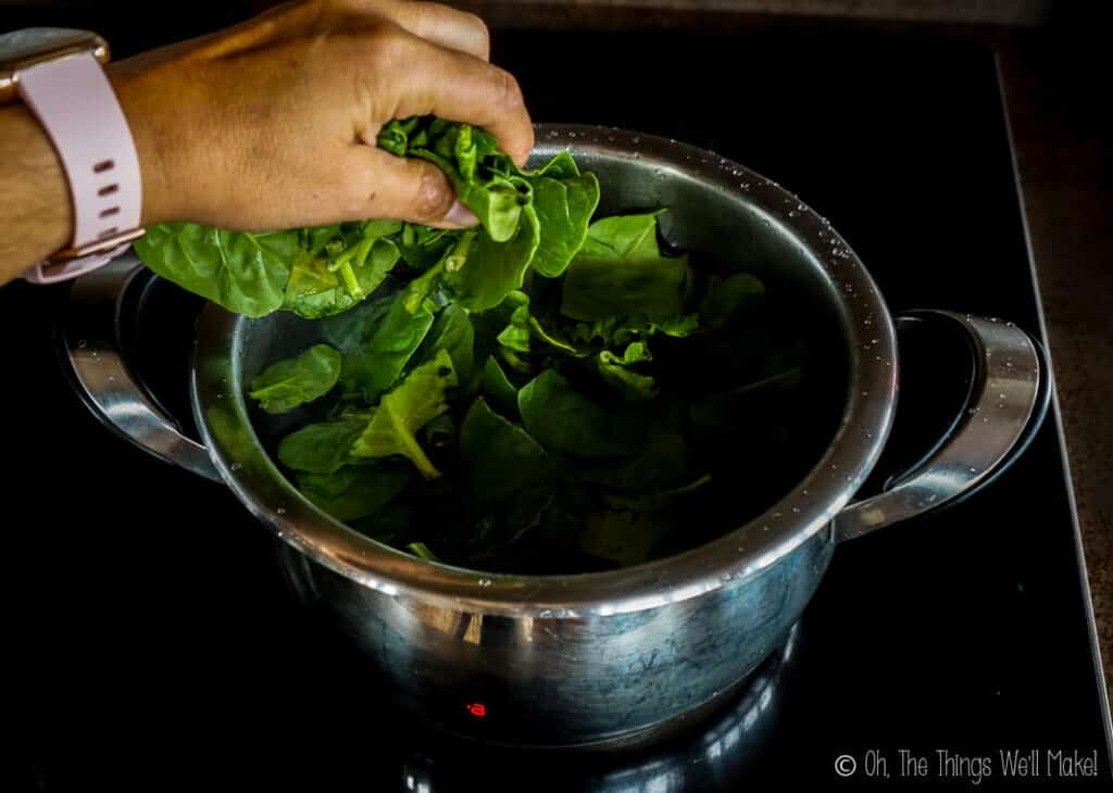 Adding the spinach to a pan with water.