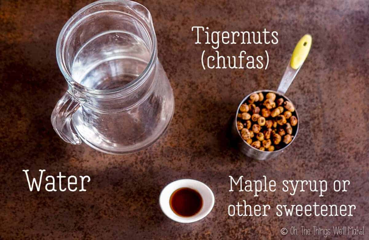 a cup of chufas, a pitcher of water, and a small bowl with maple syrup