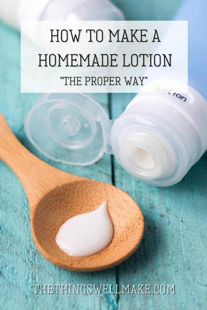 Learn how to make an easy, simple homemade lotion. This basic lotion recipe is the foundation for many different types of cosmetics. It can be customized to suit different skin types or to make a wide variety of products! #naturalskincare #homemade #lotion #diycosmetics #thethingswellmake #miy