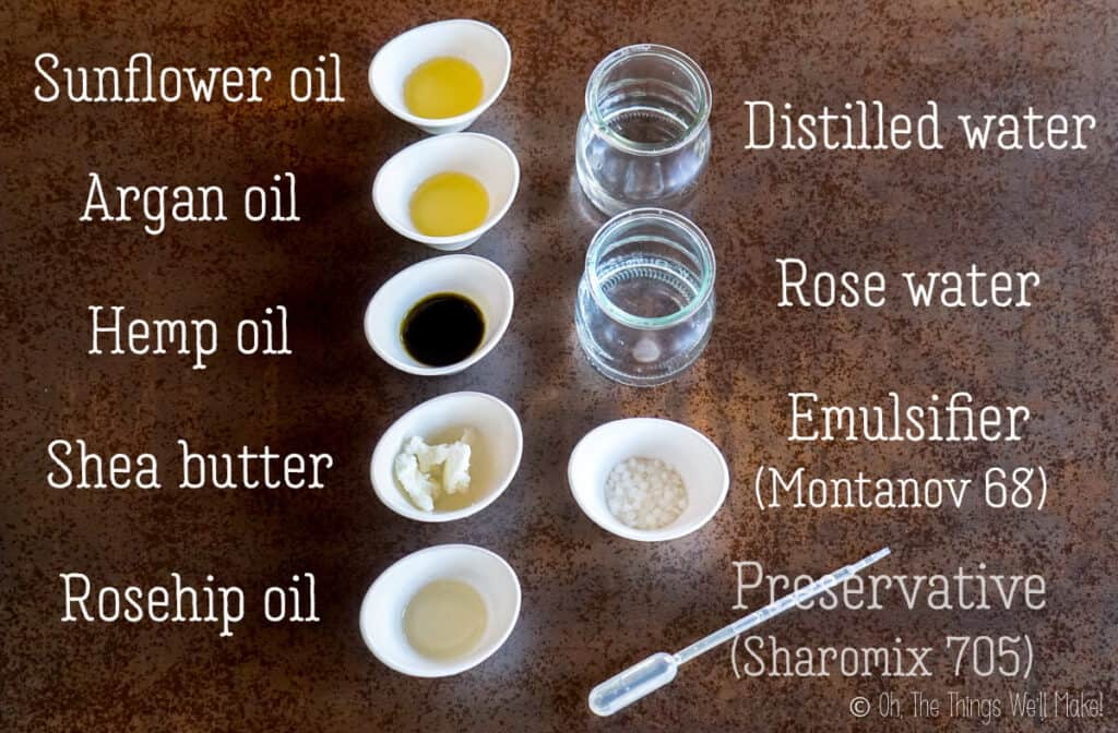 Overhead view of the ingredients for a homemade moisturizer for acne-prone skin