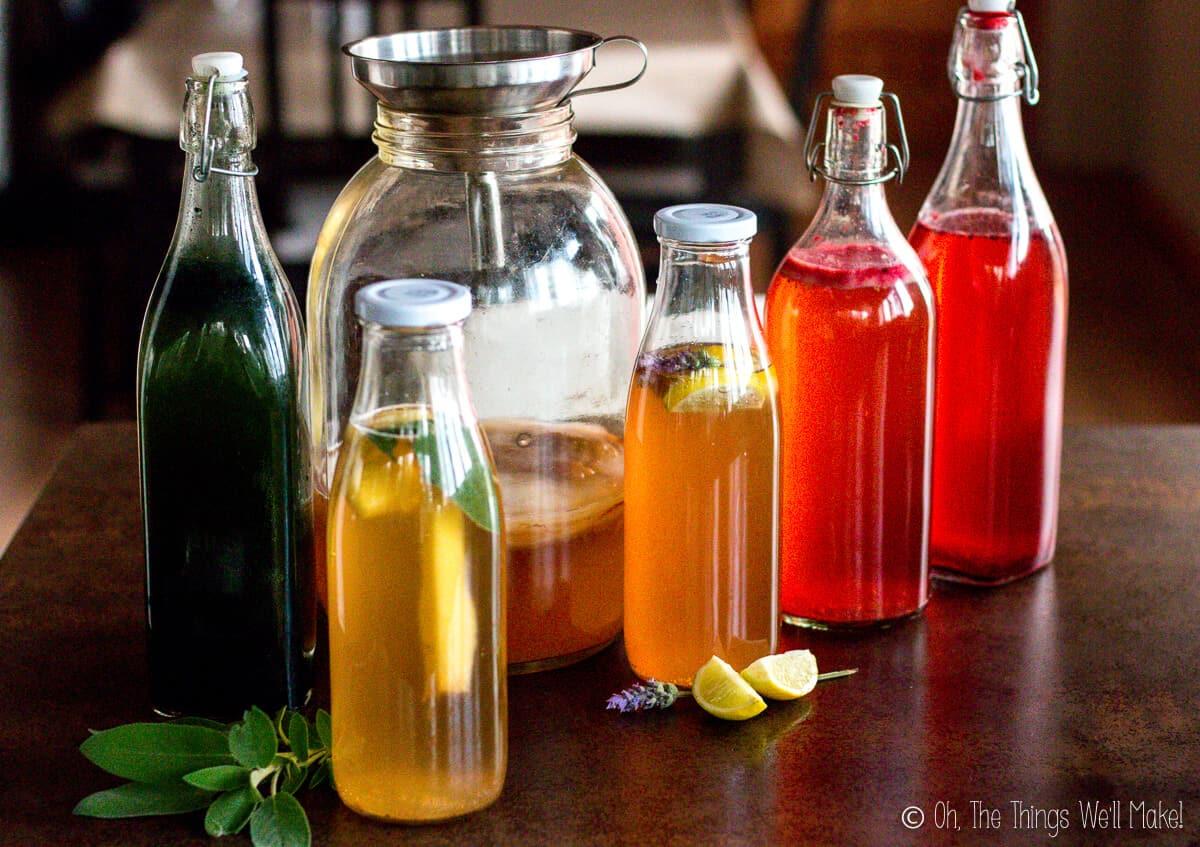 5 bottles of flavored kombucha in front of a jar of plain kombucha