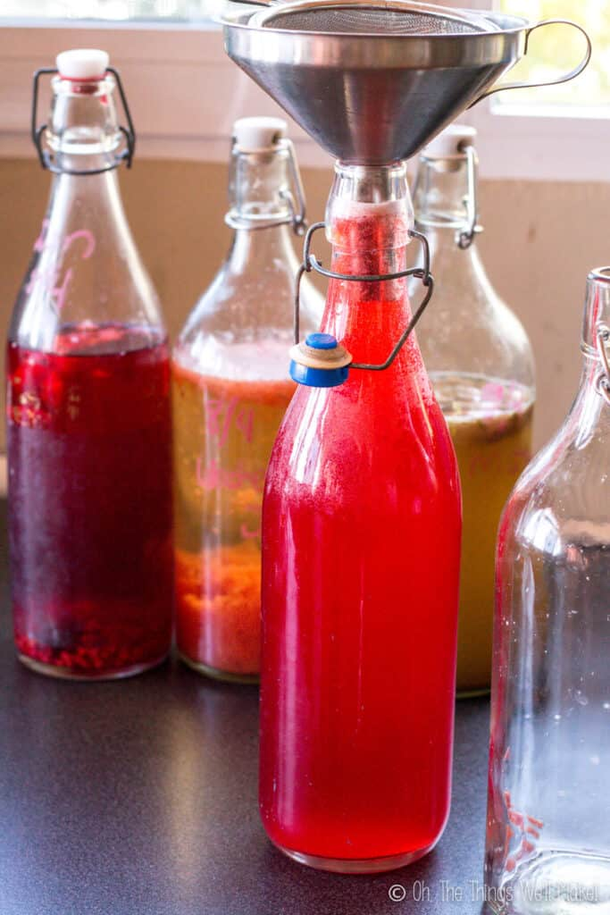 A jar of red colored kombucha with a funnel in it. Behind are bottles of kombucha with fruit in them.