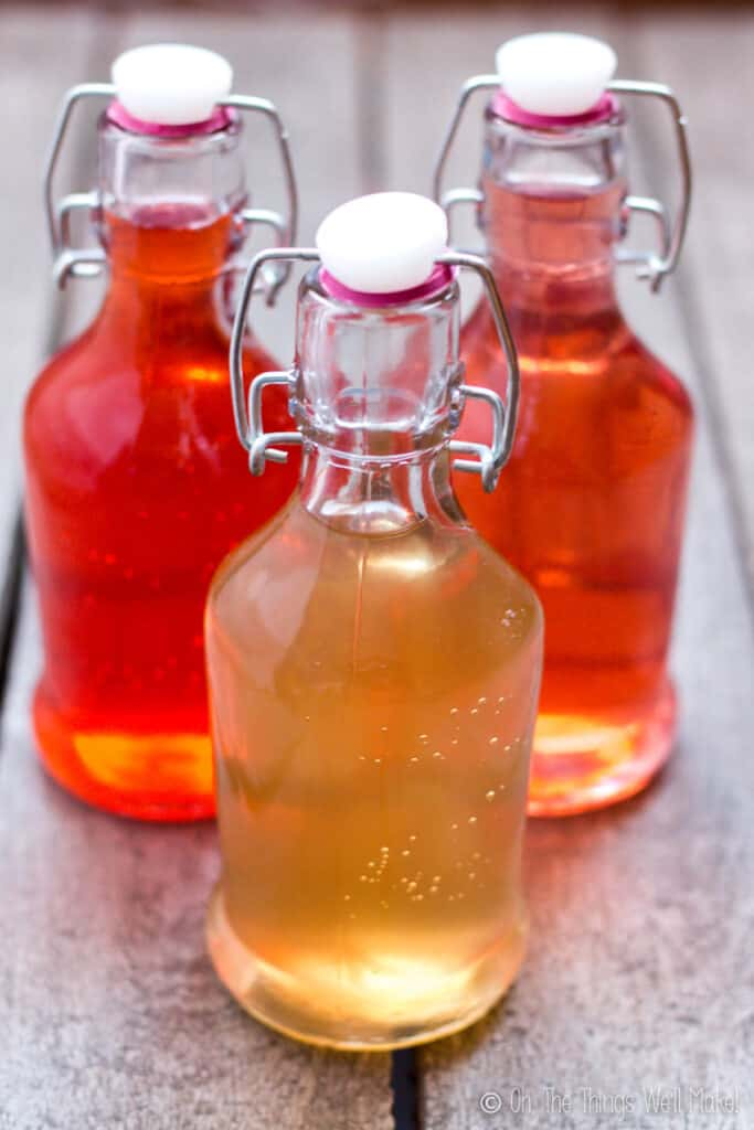 three bottles of kombucha, two have been flavored with raspberries