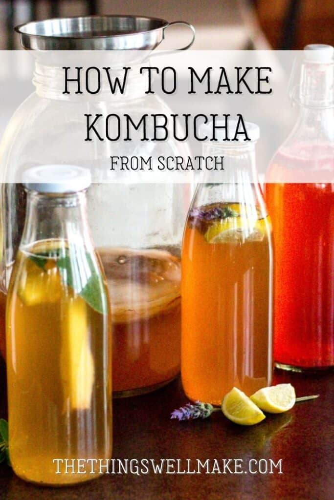 Touted with health benefits, kombucha is a fermented carbonated beverage made from tea. It's a delicious alternative to unhealthy sodas, and is easy to make from scratch in a wide variety of flavors. #kombucha #thethingswellmake #miy