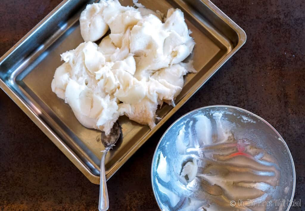 Soap paste in a baking sheet