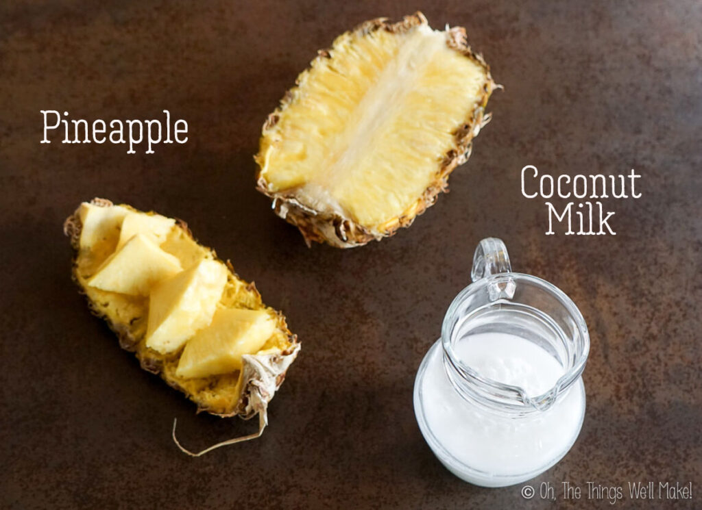 Overhead view of pineapple and coconut milk