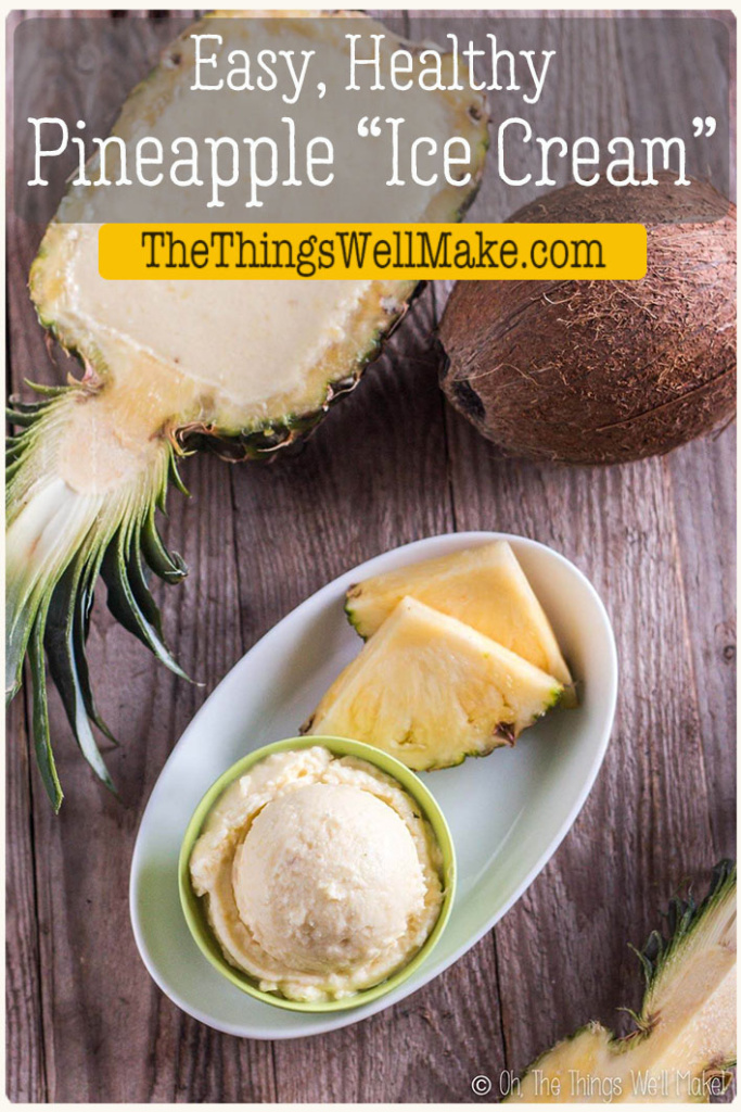 Quick to make and sure to delight, this creamy,5-minute pineapple ice cream can be whipped up at the last minute for a sweet, healthy dessert. #vegan #paleo #icecream #pineapple #dessert