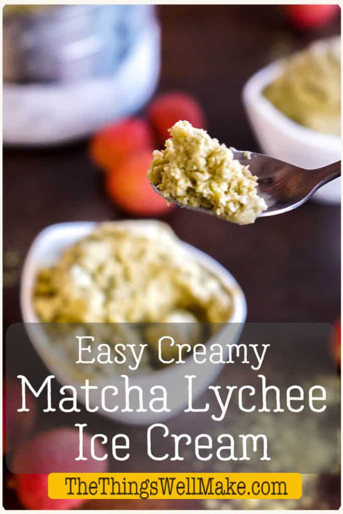 Simple to make, this homemade ice cream combines two exotic flavors, matcha green tea and lychees. It's deliciously smooth and creamy and sure to please! #thethingswellmake #tropicalflavors #homemadeicecream #matcha #matcharecipes #lychees