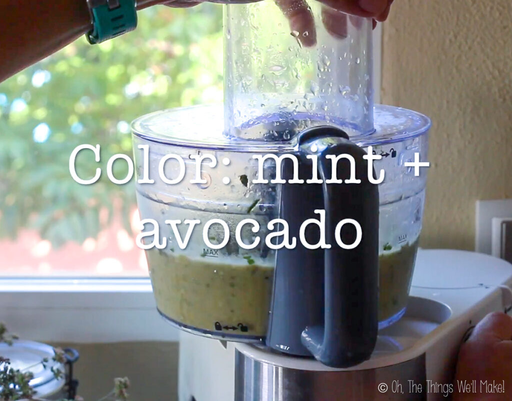 light green ice cream with mint and avocado