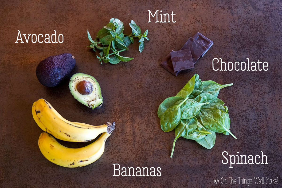 Overhead view of ingredients for mint chocolate chip nice cream