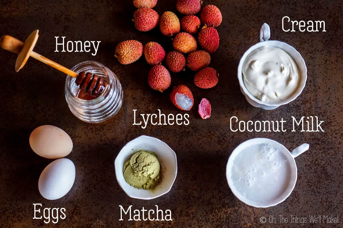Overhead view of the ingredients for matcha lychee ice cream