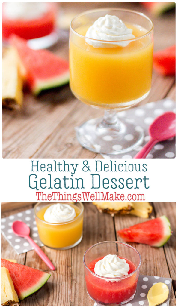 Ditch the artificial colors and flavorings of packaged Jell-O by making your own healthy gelatin dessert using fresh fruits and fruit juices. Learn which fresh fruits gel, and why some won't work (and how to use them). #gelatin #jello #dessert #healthydesserts #miy #thethingswellmake