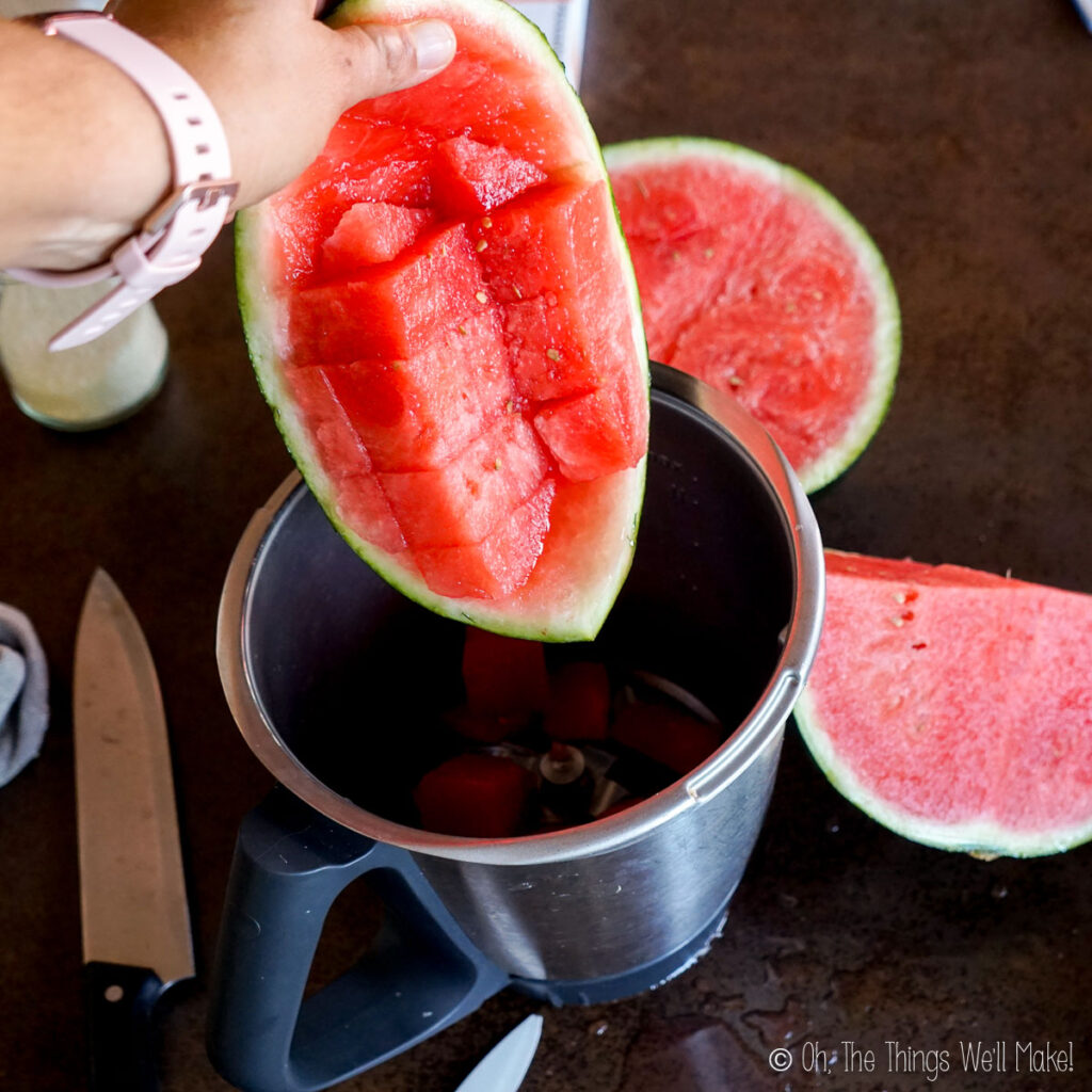 Adding cubes of watermelon to a food processor jar