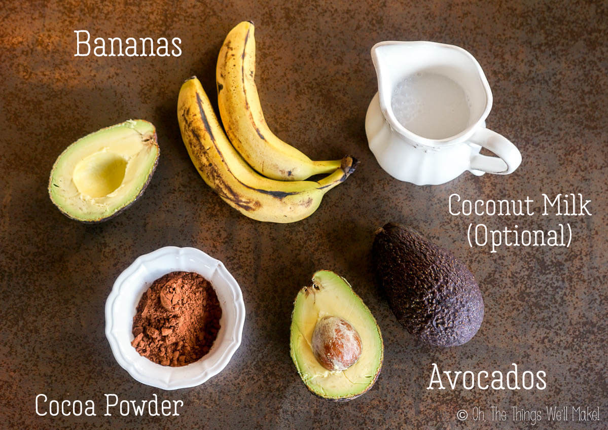 ingredients for chocolate avocado pudding pops