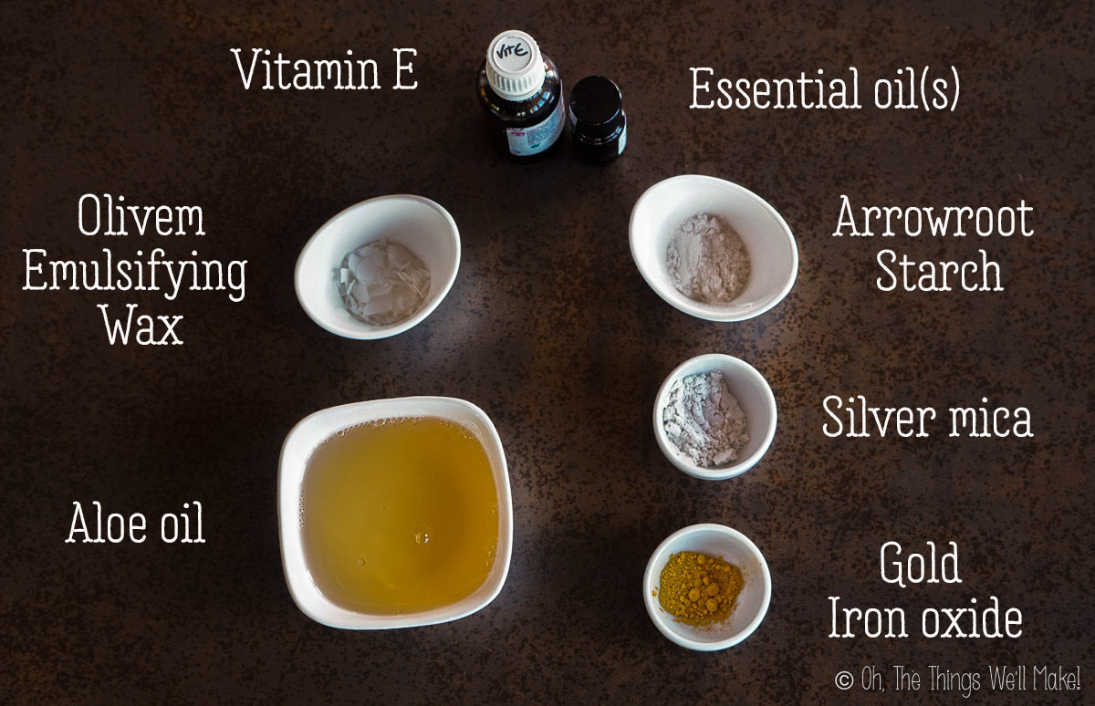 ingredients for a body shimmer oil